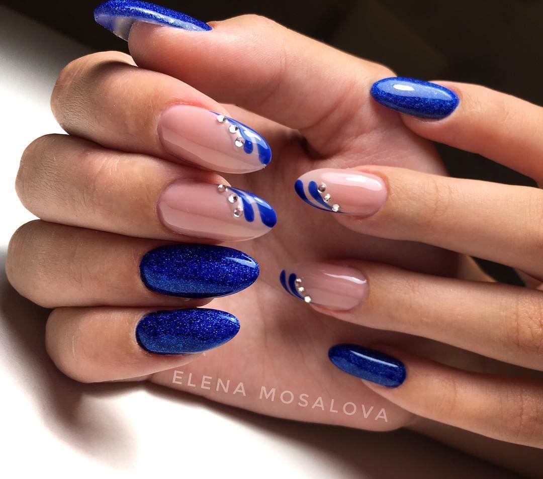 наращивание ногтей в синем цвете фото дизайн движение ионов