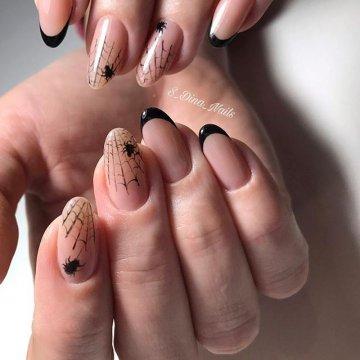 Черный френч на ногтях | 142 Фото-новинки, тренды 2021-2022